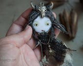 Forest spirit, art doll brooch, ooak doll, original gift