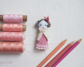 Pinky Little Lady  and her Tiny House, Art Doll Brooch, gift for her
