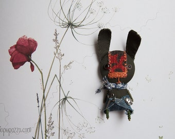 Soldier Rabbit, Art Brooch, Gift for him, mixed media