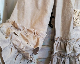 Linen Bloomers Natural Ruffled Love The Wild Raspberry