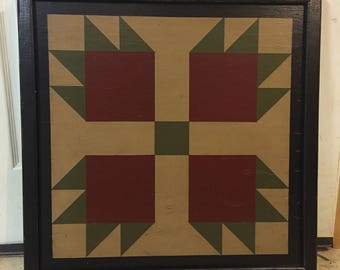 PriMiTiVe Hand-Painted Barn Quilt, Small Frame 2' x 2' - Bear's Paw Thick frame