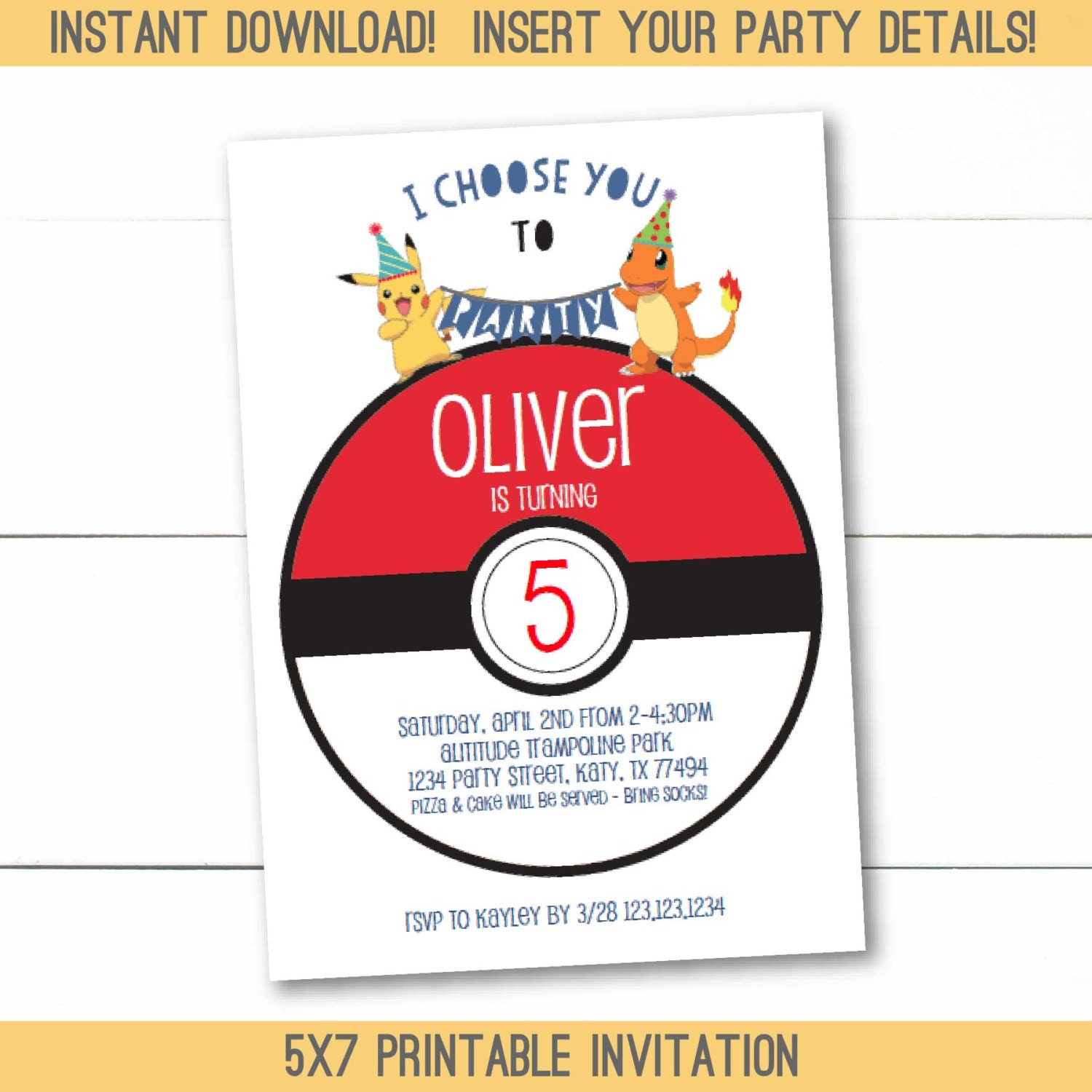 instant download editable pokemon birthday party invitation