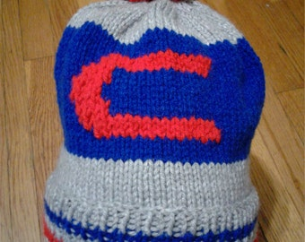 Hand Knitted Cubs Hat with pompom, fits age 6 to Adult