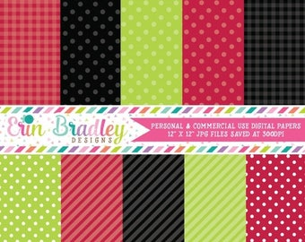 50% OFF SALE Digital Scrapbook Papers Personal and Commercial Use Red Black Green Ladybug Picnic