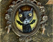 RESERVED for Jenn M. Made to order Cat portrait sculpture painting in wooden vintage frame - OOAK artwork sculpture painting
