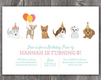 Puppy Paw-ty - Custom DIGITAL Birthday Party Invitation, any age