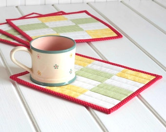 Quilted Fabric Mug Rug, Patchwork Mini Quilt, Mug Rugs, Candle Mat Set, Yellow Green Red White Mug Rug Quilting, Snack Mat, Quiltsy Handmade