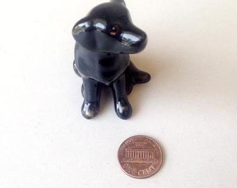 Dog figure, Black, sitting dog, puppy, Ceramic Dog Figure, ceramic figure, animal figure, dog figurine, animal figurine, labrador, decor