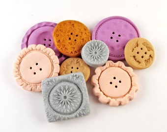 Polymer Clay Buttons - Clay Buttons, Cute Buttons, Mixed Media Buttons, Button Set