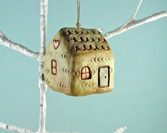House ornament - New Home Ornament, Cute House Ornament, Primitive House Ornament, Primitive Decor, New Home Housewarming Gift