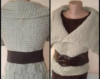 Bulky Reversible Beige Modern Vest - Outerwear - For her gift