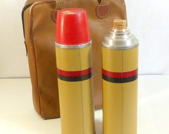 Vintage Thermos Brand Beverage Keepers and Brown Vinyl Carrying Case Vintage Hot Cold Drink Thermos Tailgate Picnic Coffee Juice Holders