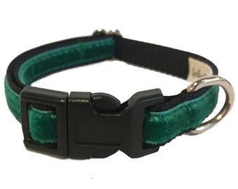 Green Velvet Small Dog Collar