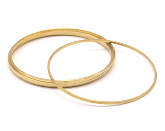 50mm Circle Connectors, 12 Raw Brass Circle Connectors (50x1x1mm) Bs 1083