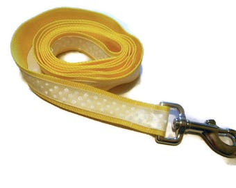 Yellow and White Polka Dot Leash/Matching Collar Available/Ribbon Leash