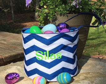 Navy and white chevron bucket. Personalized Easter bucket.  Monogrammed Easter tote bag. Kids Easter Basket.