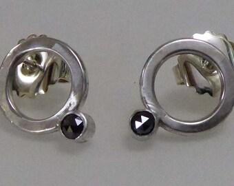 Black Diamond and silver post and scroll stud earrings minimalist elegant