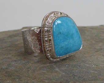 Blue Nacozari Turquoise wide band ring size P  73/4