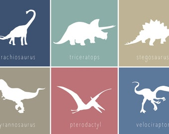 Printable Dinosaur Wall Art for Kids Room or Nursery, Set of 6 Prints