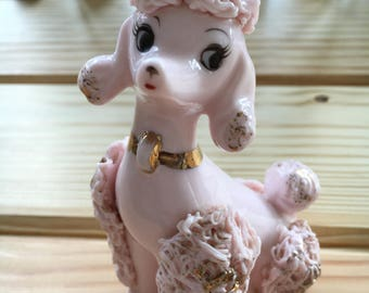 Pink and Gold Spaghetti Poodle, Vintage Poodle, Vintage Pink Poodle, Spaghetti Poodle, Vintage Spaghetti Poodle Figurine, Poodle, Vintage