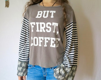 But First Coffee Coffee Lovers Bell Sleeve Elephant Print Tee Bell Sleeve Hippie Boho Clothing Size Small