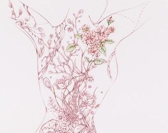 "Botanicalia ""Maureen"" Original Drawing 19""x24"""