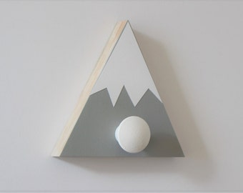 Mountain Wall Hook, Mountain Nursery, Mountain Wall Art, Wood Mountain, Gray and White