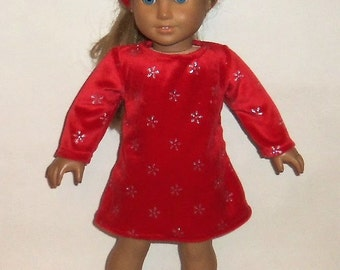 Sparkling Red Dress, Headband, 18 Inch Doll, Accessory, Party Dress,  Winter Dress, American Made, Girl Doll Clothes
