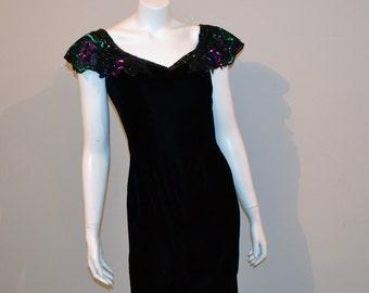 Vintage Dress Black Velvet Wiggle with Pop Culture Collar