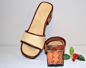 Vintage Sandal Slides Wood Carved Woven