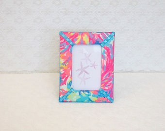 Bright Swirls Lilly Palm Beach Coral Fabric Picture Frame 4x6