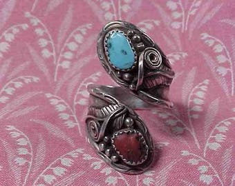 Native American Unmarked Sterling Wrap Ring with Turquoise and Coral Stones size 8.5