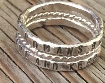 Gift set- Two Hand stamped rings Mother's Day gift for her silver stackable stacking rings,and 1 twisted stacking ring hand made custom