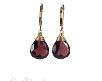 Gold Filled Earrings with Burgundy Quartz, Gift for her, Under 50, Elegant Jewelry