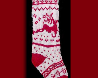Hand knit Christmas stocking,  Personalized, made of pure wool yarn,  fully lined -- reindeer, red and white