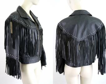 Vintage Black Leather Fringe Oversize 90's Coat