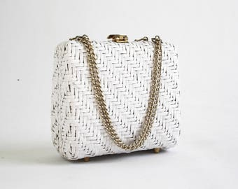 1950's Vintage White Wicker Petite Basket Purse with Gold Chain Adjustable Straps