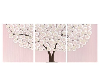 ON SALE Acrylic Painting for Baby Girl Nursery Pink and Brown Tree Wall Art Canvas Triptych - Medium 35x14