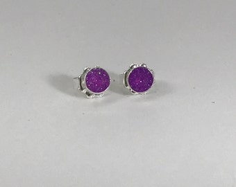 Sterling bauble earrings with bright purple resin