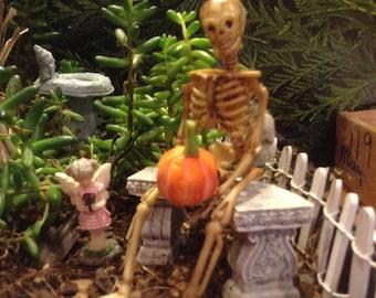 Halloween Skeleton-  miniature Sitting holding a pumpkin