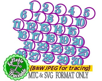 Circle Numbers Design 01  Countdown Advent Numbers MTC & SVG Cut Files