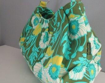 Large Shoulder Bag, Pleated Purse, Hobo Handbag, Floral Shoulder Bag, Green Handbag, Fabric Shoulder Bag