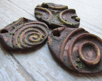 Choice of Rusty Pendants, Rusty Pendants, Rustic Pendants, ClassicBead, Handcrafted Stoneware tracee, The Classic Bead