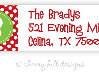 Initially Yours (holiday) return address labels - set of 75