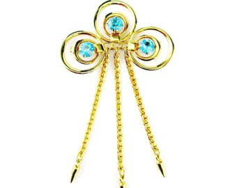 Brooch Retro Blue Rhinestone Dangles
