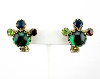 Weiss Earrings Green Blue Red Clip on