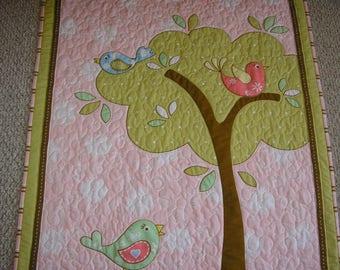 Baby Blanket, Baby Girl Quilt, Baby Birds Quilt, 35 x 41 inches