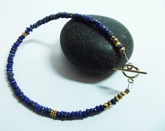 Bracelet,Lapis Lazuli,Gold Vermeil Beads,Toggle Clasps, Faceted Lapiz, GlamBracelet,Blue Bracelet,Gift For Her,Wrist Candy,Stacking Bracelet