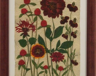 Red Flowers with Red Wood Frame