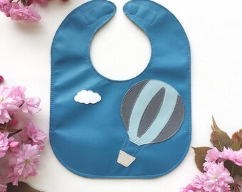 Hot Air Balloon Leather Baby Bib with Pocket and Magnet Clasp // Stain Resistant // Adjustable Bib // Baby Gift // Option to Personalize